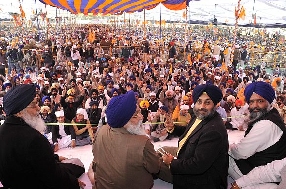 Punjab Chief Minister Parkash Singh Badal and his son Deputy Chief Minister Sukhbir Singh Badal.