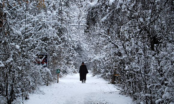 A man walks through the frozen Dachigam national reserve near Srinagar on Monday
