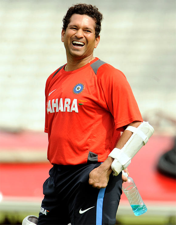 Sachin Tendulkar during a training session before the Oval Test, London, August 2011