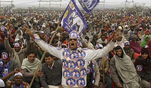 A Mayawati supporter during an election rally in Lucknow
