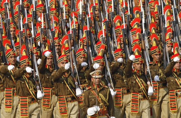 The Republic Day marchpast in New Delhi on Thursday