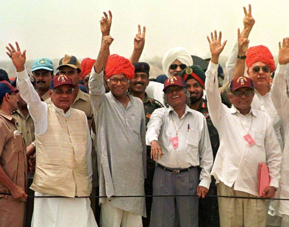 From right, Dr Farooq Abdullah, then Union minister; R Chidamabaram, then chairman, Atomic Energy Commission; A P J Abdul Kalam, then chief scientific advisor to the prime minister; then defence minister George Fernandes, then prime minister Atal Bihari Vajpayee and others celebrate the successful nuclear tests, May 1998.
