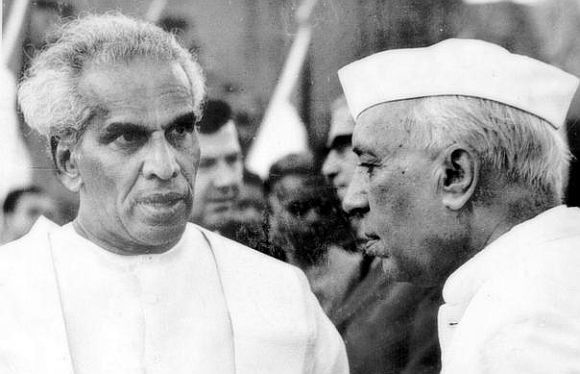 Late Prime Minister Jawaharlal Nehru with then Defence Minister Krishna Menon