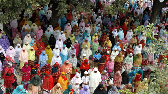 Women offer prayers at a mosque in Ahmedabad