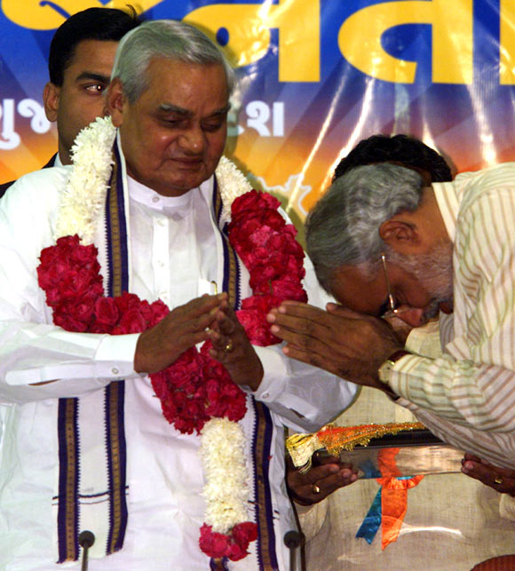 Atal Bihari Vajpayee with Narendra Modi in December 2002