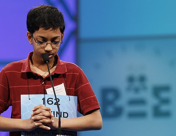 Arvind Mahankali of Bayside Hills, New York struggles with his word during the Scripps National Spelling Bee semi-finals
