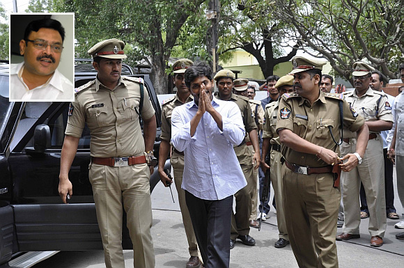YSR Congress chief Jaganmohan Reddy greets his supporters outside the Nampally criminal court complex. Inset: YSR spokesperson Ambati Rambabu