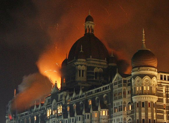 The Taj Mahal hotel in Mumbai during the 26/11 attack