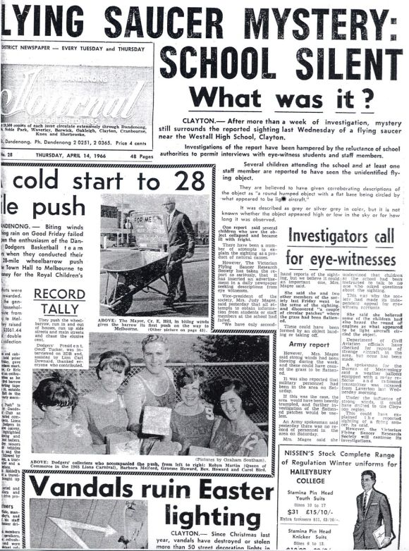The Westall encounter incident featuring on the front page of the Melbourne news paper 'Dandenong Journal' on April 14, 1966