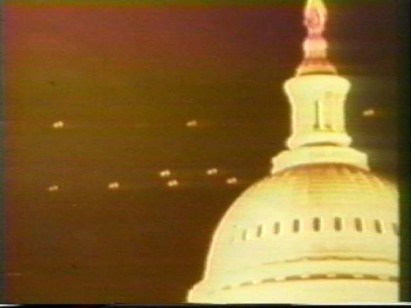 A photograph of the alleged UFOs over the Capitol building in Washington, DC, in July, 1952.