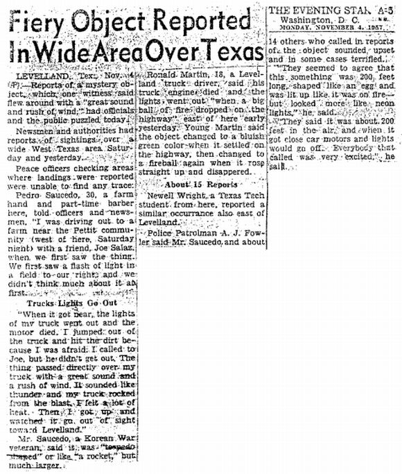 The 'Washington Evening Star' on the Levelland UFO incident