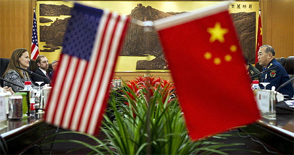The national flags of China and the US