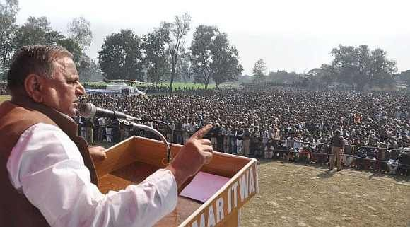 File image of SP chief Mulayam Singh Yadav addressing a rally in Etah
