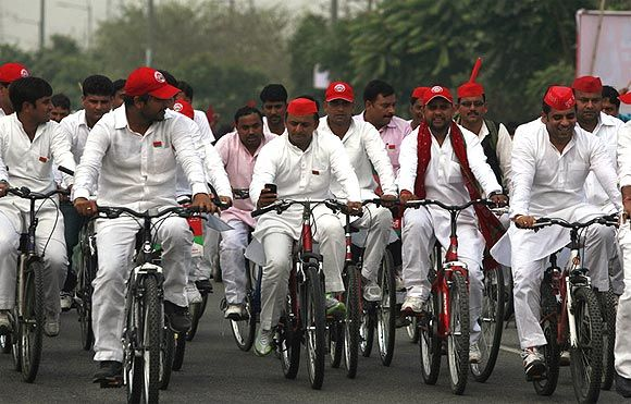 SP state president Akhilesh Yadav on a cycle yatra ahead of the UP polls