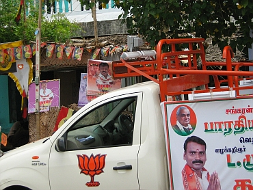 The BJP's candidate seeks votes in the name of former prime minister AB Vajpayee