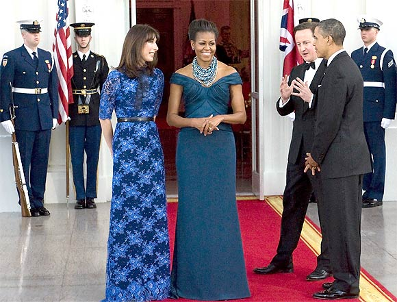 Obama and First Lady Michelle Obama with Cameron and his wife Samantha