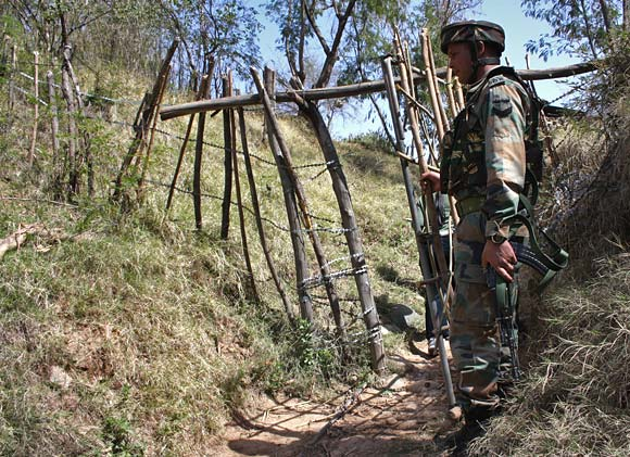 An Indian soldier at a forward post in Jammu and Kashmir