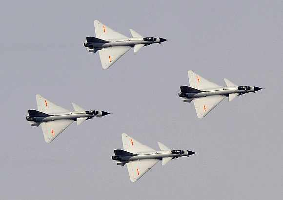 J-10 fighter jet aerobatic team of China Air Force fly in formation
