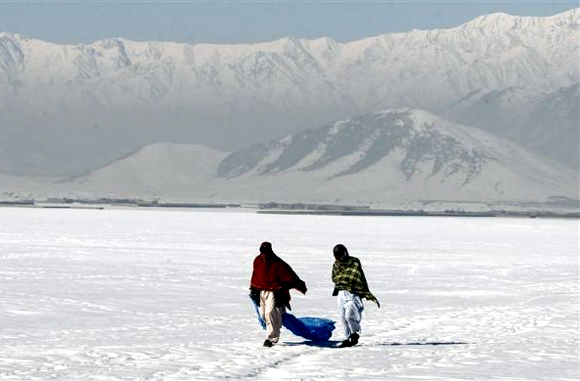 A snow-covered field near Bagram highway, Afghanistan, February 29, 2012