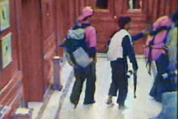 CCTV footage obtained from Taj Hotel in Mumbai shows the 26/11 terrorists walking in the hotel corridor carrying guns in their bags and hands