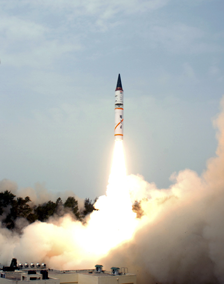 Agni-III missile takes off in its third flight launch system