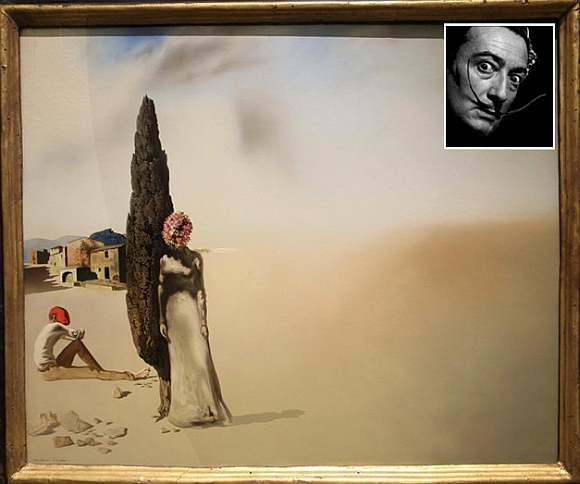 The Printemps necrophilique displayed at an exhibition (inset) Salvador Dali