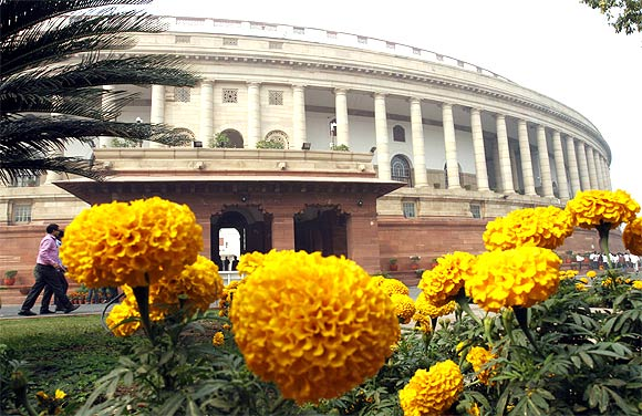 The stately building of India's Parliament