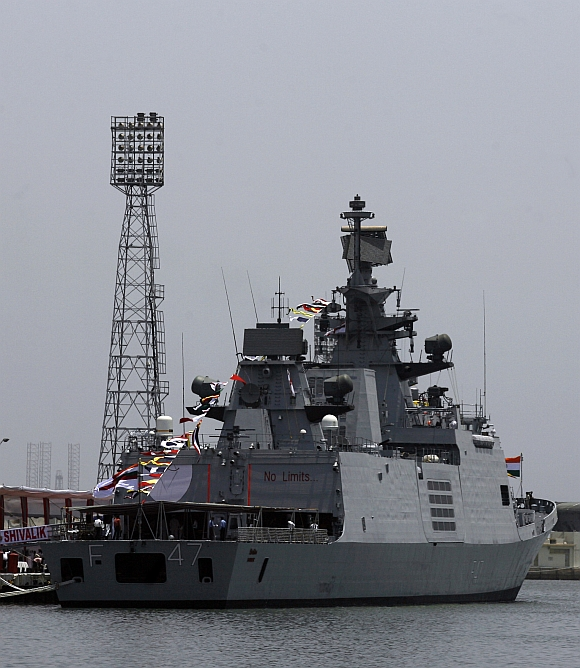 The Indian Navy's newly commissioned stealth frigate INS Shivalik is seen after the commissioning ceremony at a naval base