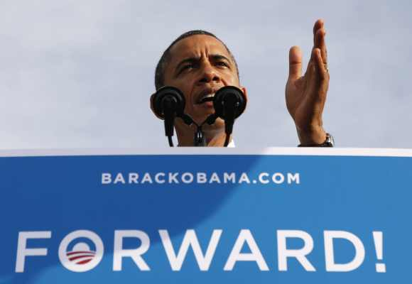 US President Barack Obama speaks during a campaign rally in Tampa, Florida