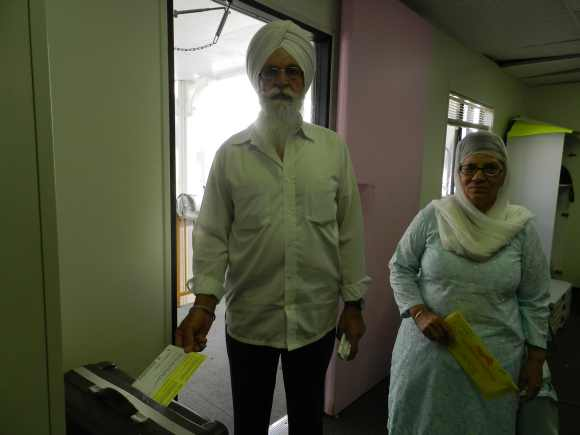 Sukhdeb and Manbir at the gurdwara to cast their vote