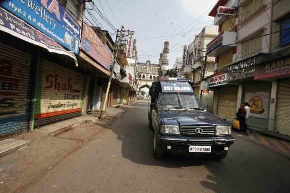 The roads of Hyderabad in a state of near-curfew