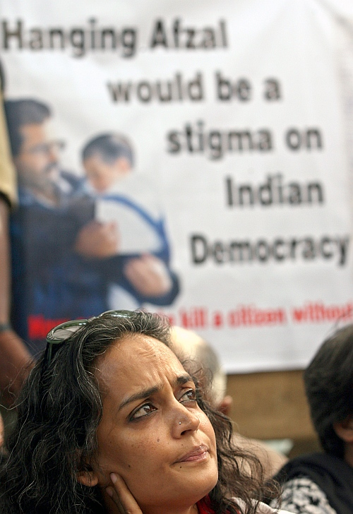 Arundhati Roy, Booker Prize-winning novelist, attends a protest against the execution of Mohammed Afzal in New Delhi