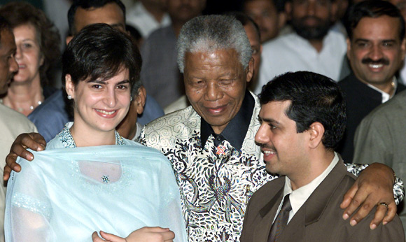 Robert and Priyanka Vadra with Nelson Mandela in  in New Delhi March 16, 2001
