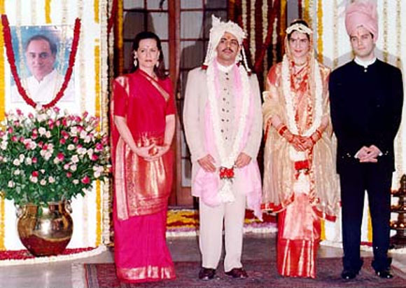 Sonia Gandhi with Priyanka Gandhi, Robert Vadra and Rahul Gandhi