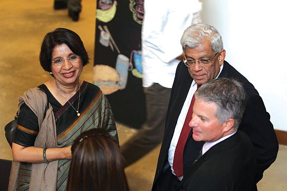 Ambassador Nirupama Rao, left, and HDFC chairman Deepak Parekh, to her right, at CASI
