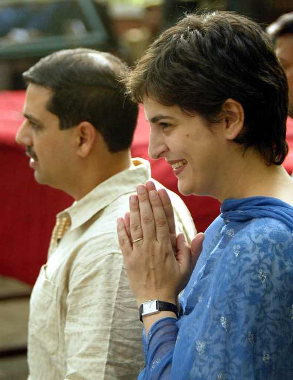 Priyanka Gandhi Vadra and her husband Robert in New Delhi