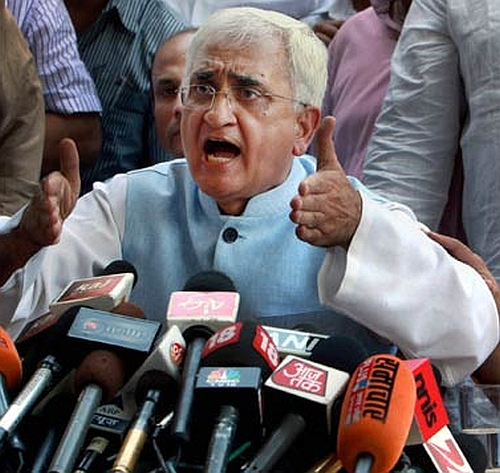 Salman Khurshid at the press conference in New Delhi