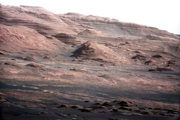 The base of Mars' Mount Sharp taken by the Curiosity rover.