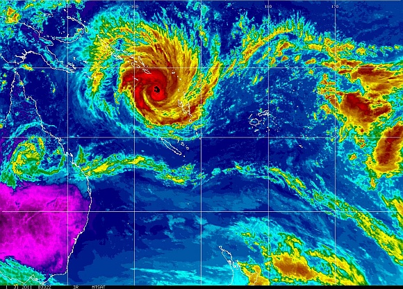 A weather satellite image shows tropical cyclone Yasi passing near the Solomon Islands and Vanuatu