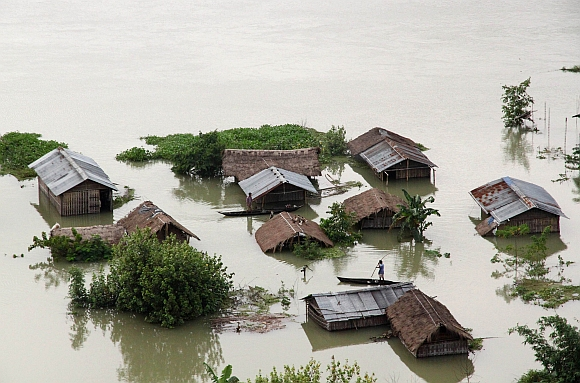An aerial view of a flooded river island in the Brahmaputra river in Majuli, Assam