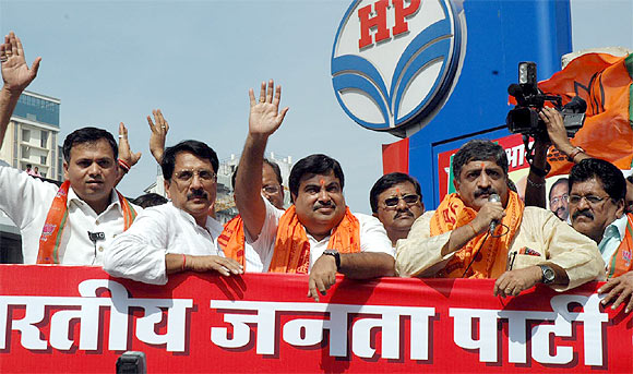 Gadkari greets his supporters.