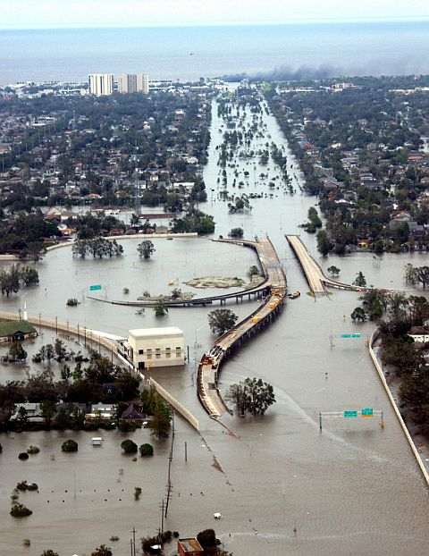 In this handout image, water flooded roadways can be seen as the US Coast Guard conducts initial Hurricane Katrina damage assessment overflights in New Orleans, Louisiana