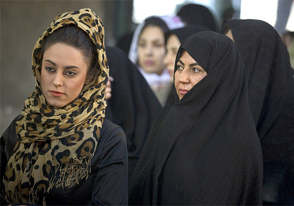 A young Iranian woman, left, with an older Iranian woman in Tehran: Photograph used only for representational purposes