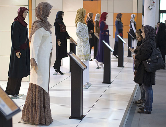 Iranian women visit an Islamic fashion exhibition in central Tehran: Photograph used only for representational purposes