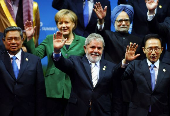 World leaders including Dr Singh during a photo session at the 2010 G20 Summit in South Korea