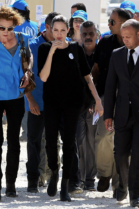 The UN refugee agency's special envoy, actress Angelina Jolie, arrives at Al Zaatri refugee camp, near the border with Syria.