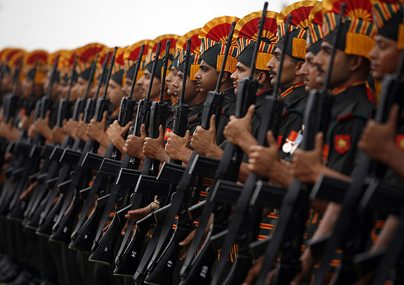 Indian soldiers during a ceremonial reception