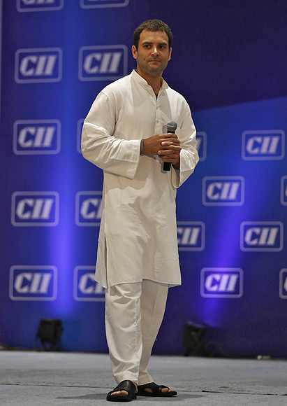 Rahul Gandhi pauses while speaking during the 2013 annual general meeting and national conference of Confederation of Indian