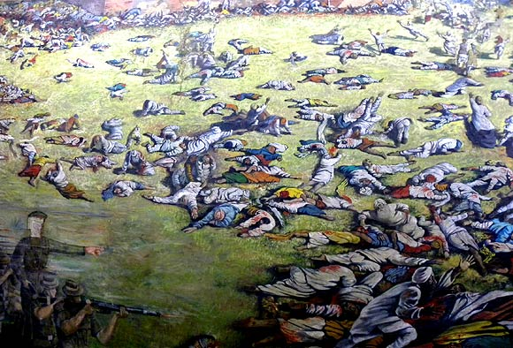 A mural of the Jallianwalla Bagh massacre. Photograph: Vaihayasi Pande Daniel/Rediff.com