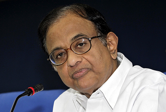 Finance Minister P Chidambaram speaks during a news conference in New Delhi